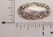 (Package Of 12) Slim Oval Tag W/ Floral Border (Matte Silver