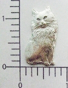 "(Package Of 12) Fluffy Sitting Cat 1-1/4"" N/R (Matte Silver"