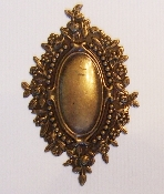(Package Of 12) Oval W/ Ornate Floral Border (Brass Ox)