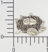 (Package Of 12) Bird's Nest Charm (Matte Silver Ox)