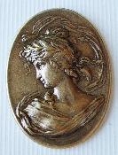 (Package Of 12) Vict/ Greek Lady Head in Oval (Brass Ox)