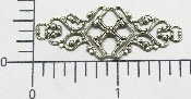 "(Package Of 12) 1-3/4"" Long Ornate Filigree (Matte Silver Ox"
