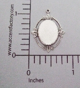 (Package Of 12) 15x11mm Charm Setting (Matte Silver Ox)