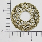 (Pkg. Of 12) Open Circle Filigree (Brass Ox.)