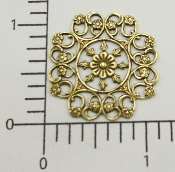 (Pkg. Of 12) Ornate Round Filigree (Brass Ox.)