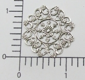(Pkg. Of 12) Ornate Round Filigree (Matte Silver Ox.)
