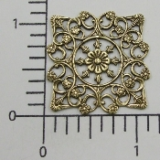 (Pkg. Of 12) Ornate Square Filigree (Brass Ox.)