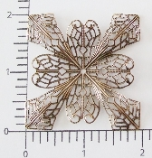 "(Pkg. Of 12) 2"" Dapped Ornate Sq.Filigree (Brass Ox.)"