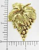 (Package Of 12) Large Grape Cluster W/ Leaves (Brass Ox)