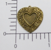"(Package of 12) 1"" Vict. Floral Heart Charm (Brass Ox)"