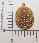 (Package of 12) 3 Cupids Playing on Oval Charm (Brass Ox)