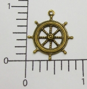 (Package Of 12) Ship's Wheel Charm (Brass Ox)