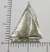 (Package Of 12) Large Sailboat NR (Matte Silver Ox)