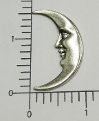 (Package of 12) Large Moon w/Face (Matte Silver)