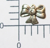 "(Package of 12) 1/2"" Mini Bow Charm (Matte Silver)"