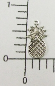 (Package Of 12) Small Pineapple Charm (Matte Silver)