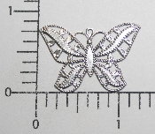 (Package Of 12) Lg. Filigree Butterfly Charm (Matte Silver)