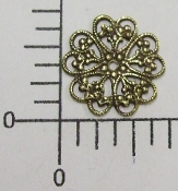 "(Package Of 12) 3/4""  Round W/Hearts/Flower (Brass Oxidized)"