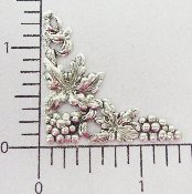 (Package Of 12) 1-3/8 Victorian Floral Corner (MATTE SILVER