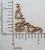 23643 - 4 Pc. Victorian Corner Jewelry Finding Stamping Brass Ox