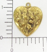 (Package Of 12) Lily of the Valley Heart Charm (Brass Ox)