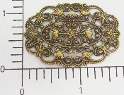 (Package Of 12) Large Ornate Oval Filigree (Brass Ox)
