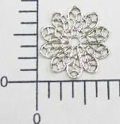 "12 Pc 3/4"" Round Filigree SILVER Ox"