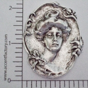 (Package Of 12) Victorian Woman in Oval (Matte Silver Ox)
