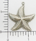 "2 Pc 1-1/2"" Starfish Pendant/Charm Jewelry Finding Silver Ox"