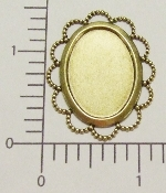 (Package Of 12) 25x18MM Setting w/Lacy Edge (Brass Ox)