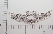 2 Pc Ornate Flowing Bow W/ Flowers Ornament Silver Ox