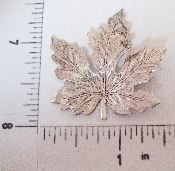 1 Pc. Victorian X-Large Maple Leaf Brass Finding SILVER Ox