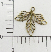 3 Pc Triple Filigree Leaves Charm Brass Ox Finding Stamping