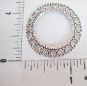 12 Pc Round Open Filigree W/ Hearts Matte Silver Ox