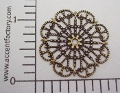 "(Package Of 12) 1-1/4"" Round Lacey Filigree (Brass Ox)"