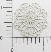 "12 Pc  1-1/4"" Round Lacey Filigree SILVER Ox"