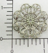 "(Package Of 12) 1-1/4"" Round Dapped Filigree (Matte Silver O"