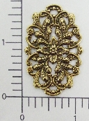 (Package Of 12) Ornate Floral Filigree Oval (Brass Ox)
