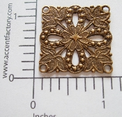 (Package Of 12) 4 Loops Square Filigree (Brass Ox)