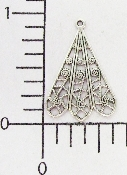 "(Package Of 12) Triangular Filigree Dangle 1"" (Matte Silver"