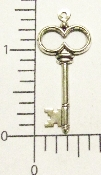 "(Package Of 12) 1-1/4"" Victorian Key Charm (Matte Silver Ox)"