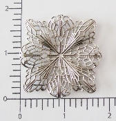 "(Pkg. Of 12) 2"" Square Flat Filigree (Matte Silver Ox.)"