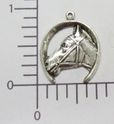 Horseshoe/Horse Head Charm (Matte Silver Ox) (Package Of 12)