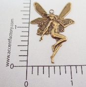 17133 - 12 Pc Lg Fairy Faerie Charm/Pendant Brass Ox