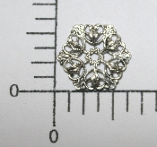 "(Package Of 12) 5/8"" Dapped Floral Filigree (Matte Silver Ox"