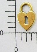12 Pc Heart Shaped Lock W/ Key Hole Brass Ox