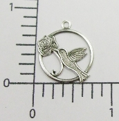 12 Pc Hummingbird in Round Charm Matte Silver Ox