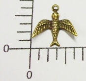 (Pakage of 12) Sm Flying Bird Charm (Brass Ox)
