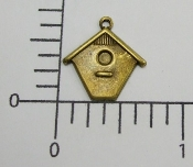 (Pakage of 12) Sm. Birdhouse Charm (Brass Ox)