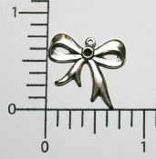 (Package of 12) Small Bow Charm (Matte Silver Ox)